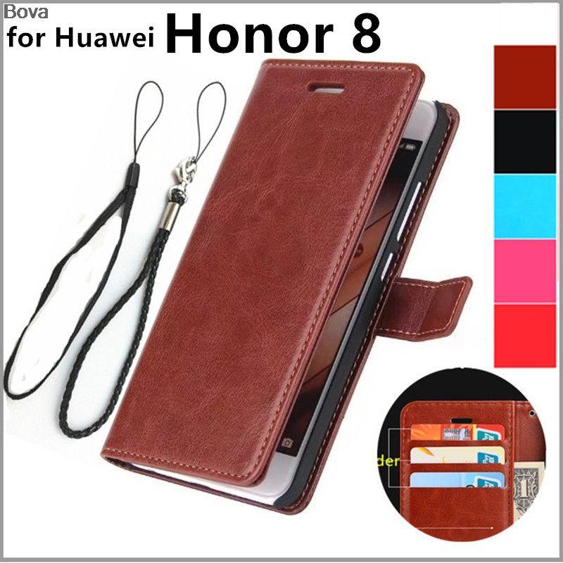 Fundas Huawei Honor 8 5.2-pouces couverture de porte-cartes pour Huawei honneur 8 Pu en cuir téléphone cas ultra mince portefeuille flip couverture