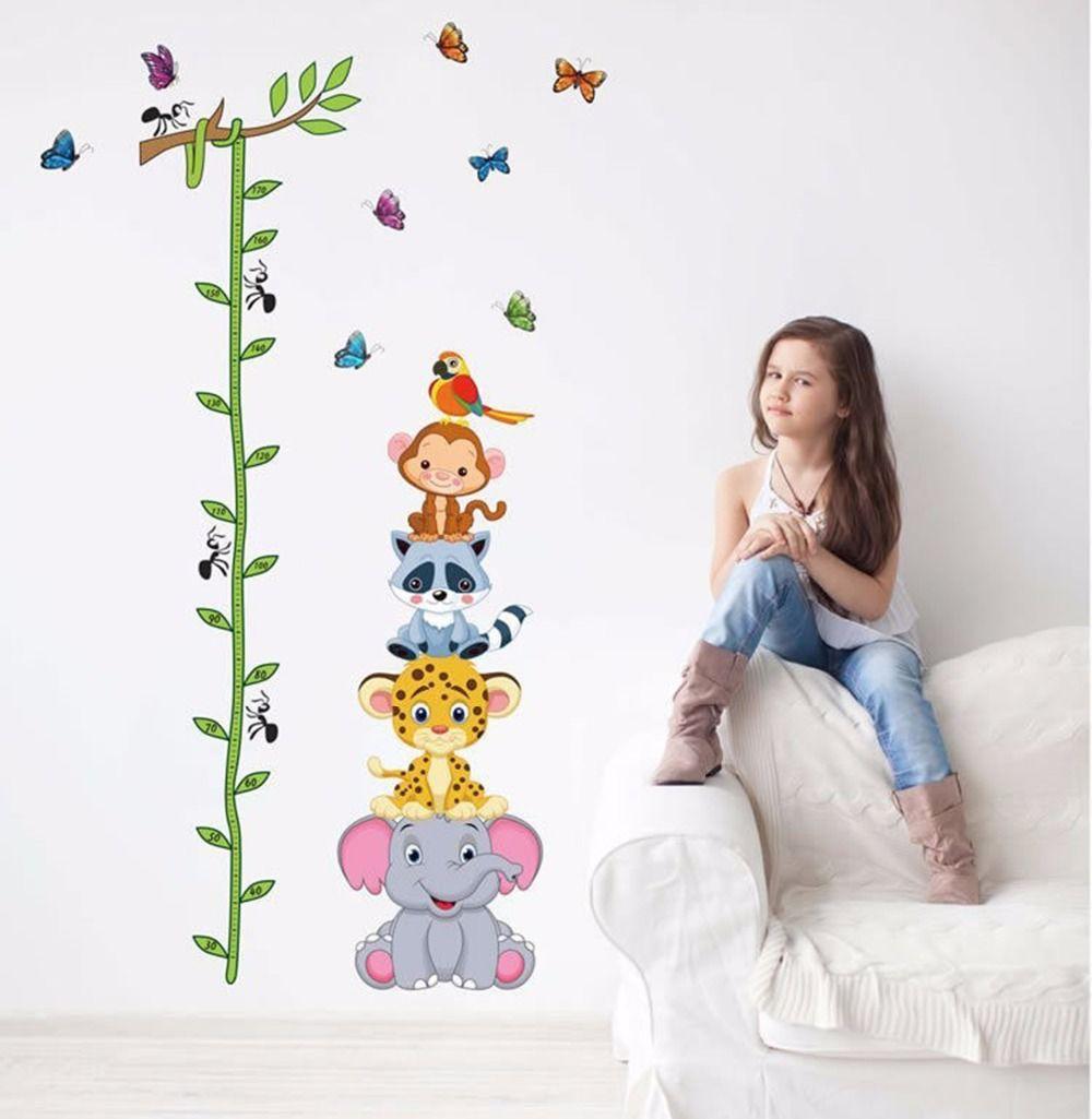 Mignon tigre animaux pile hauteur mesure stickers muraux decal enfants adhésif murale papier peint en vinyle bébé fille garçon chambre décor de nurserie