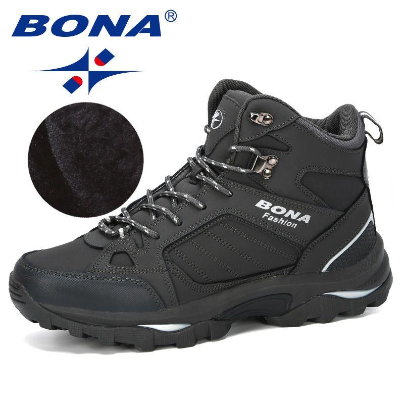 BONA hommes bottes Anti-dérapage en cuir chaussures hommes populaire confortable printemps automne hommes chaussures courtes en peluche neige bottes Durable semelle extérieure