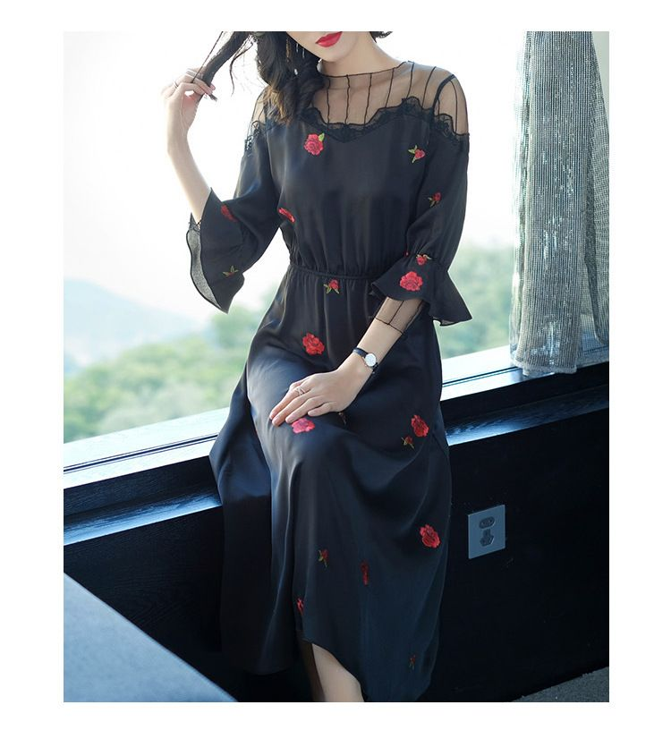 2018 hot selling fashion Women O-Neck print Embroidered Fish Sling Lined Black Sexy Long dress 72147