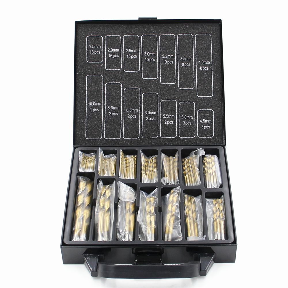 Free shipping Iron Box packing 99PCS HSS Twist Drill Bits Set 1.5-10mm Titanium Coated Surface 118 Degree For Drilling Metal