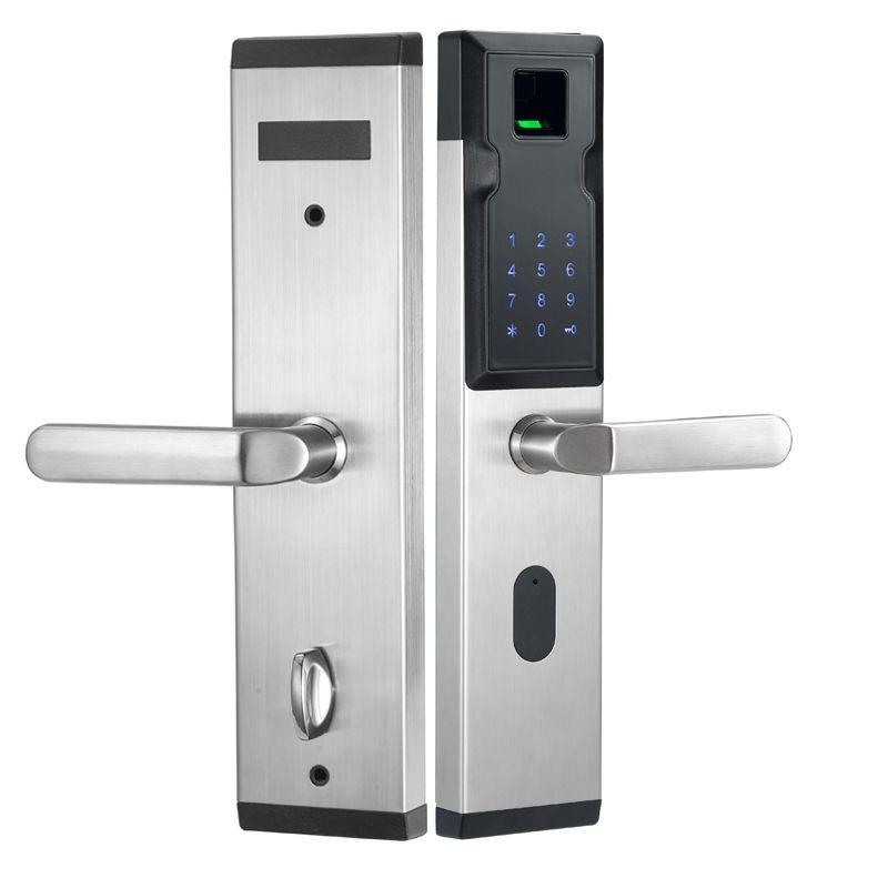 2017 Биометрические электронные смарт дверные замки отпечатков пальцев + 4 карты + 2 механические клавиши Keyless кодовый замок smart вступление офи...