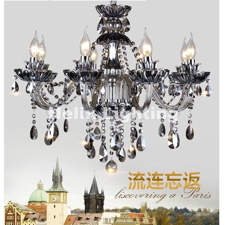 Free Shipping Smokey K9 Crystal Chandelier Lustre Crystal Chandeliers Light Lustres De Cristal Chandelier LED Villa Smoked Lamp