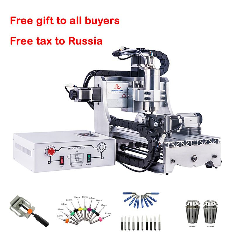 Mini 3axis CNC wood Router 4axis Engraver 3020 800W metal engraving milling drilling machine ER11 cutters drill bits clamp vice