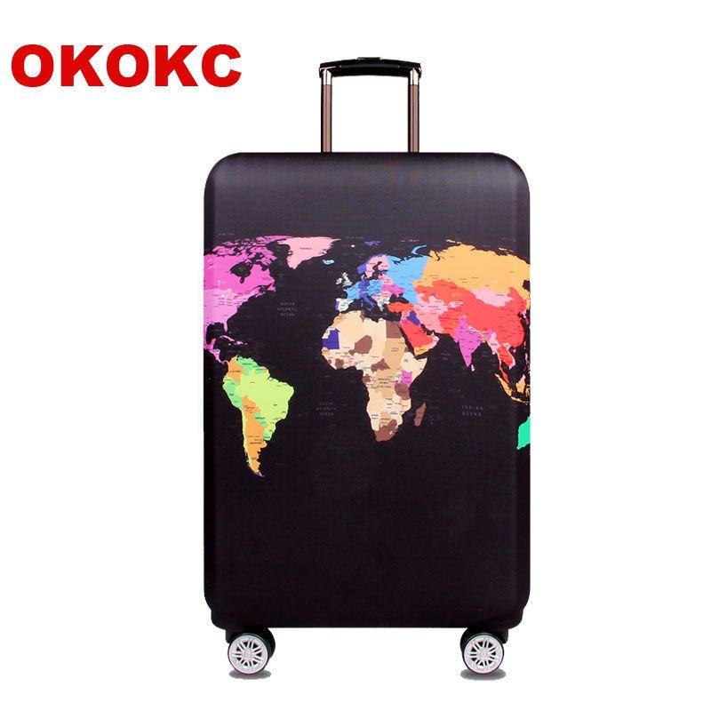 OKOKC Carte Du Monde Élastique Épais Cache-Bagages pour Tronc Cas S'applique à 18 ''-32'' Valise, valise De Protection Couverture Voyage Accesseur
