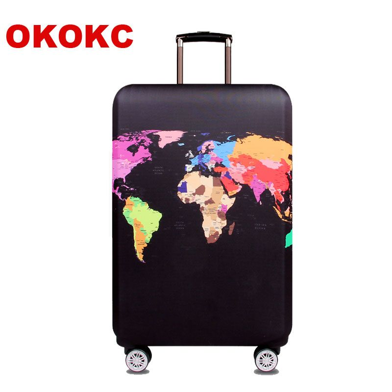 OKOKC World Map Elastic Thick Luggage <font><b>Cover</b></font> for Trunk Case Apply to 18''-32'' Suitcase,Suitcase Protective <font><b>Cover</b></font> Travel Accessor