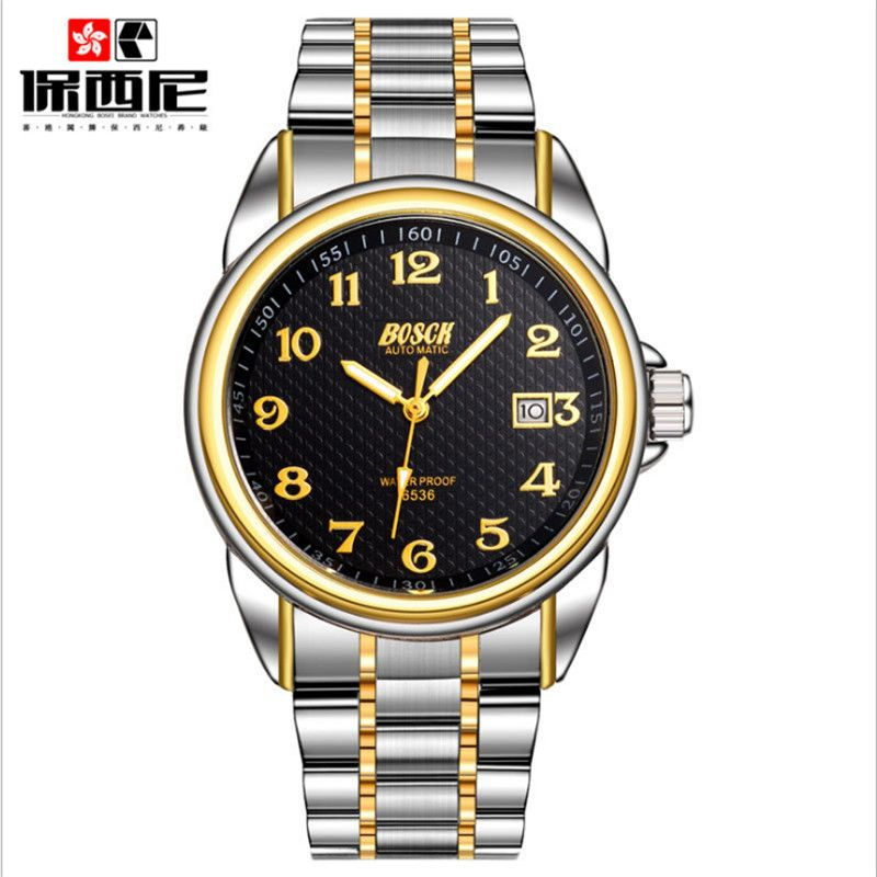 2017 bosch men's mechanical power automatic watch watches luxury brand waterproof military watch strap genuine leather