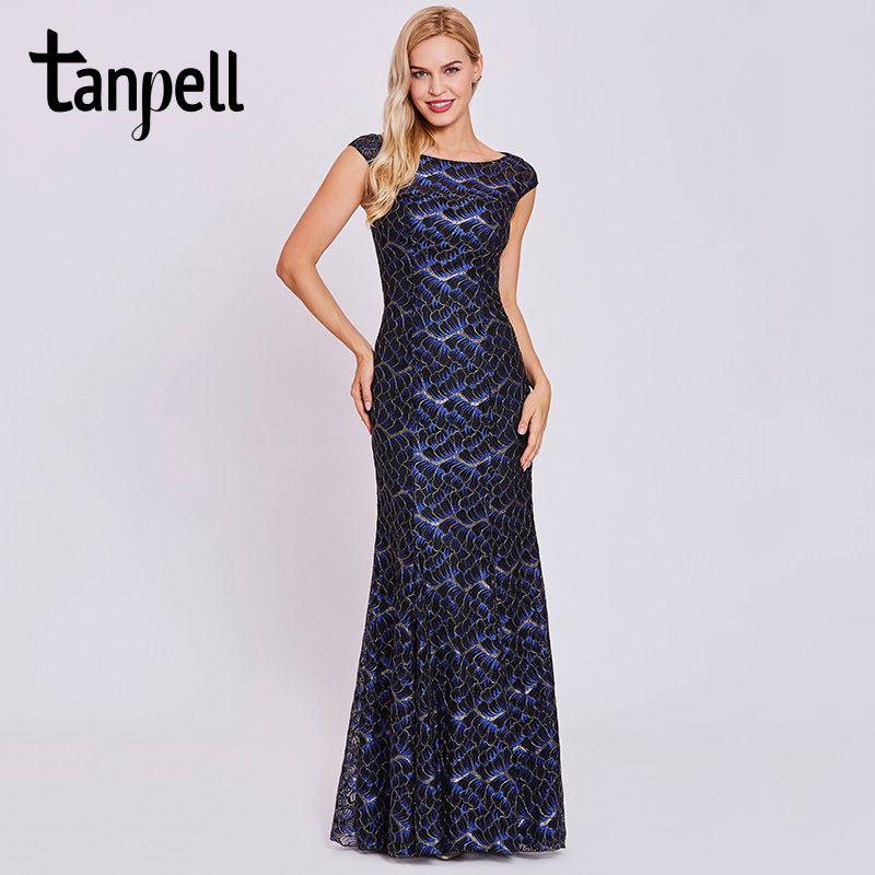 Tanpell lace mermaid evening dresses black hollow cap sleeveless floor length gown women bateau neck long formal evening dress