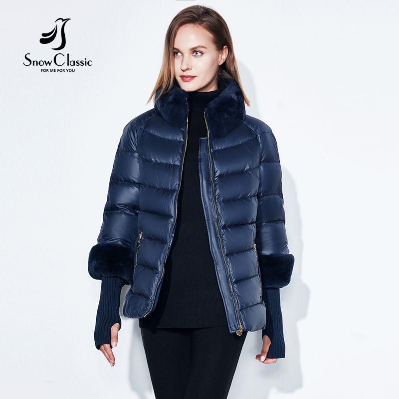 2018 Women's Coat <font><b>Warm</b></font> Winter Jacket Real Rabbit Fur Collar / Sleeve Removable Windbreaker Plus Fat Jacket SnowClassic