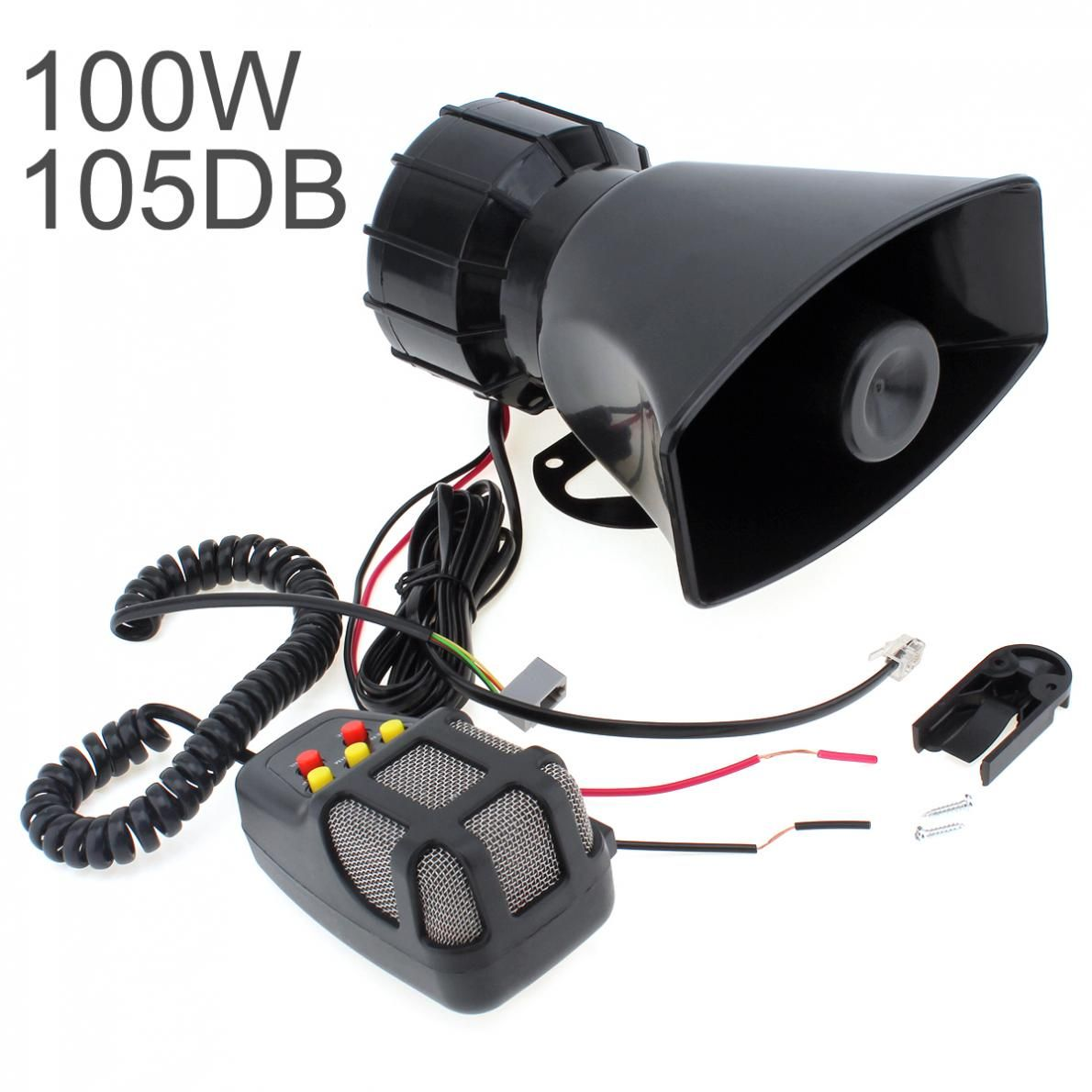 DC 12V 100W Motorcycle Car Auto Vehicle Truck 5 Sound Tone Loud Horn Siren Police Firemen Ambulance Warning Alarm Loudspeaker