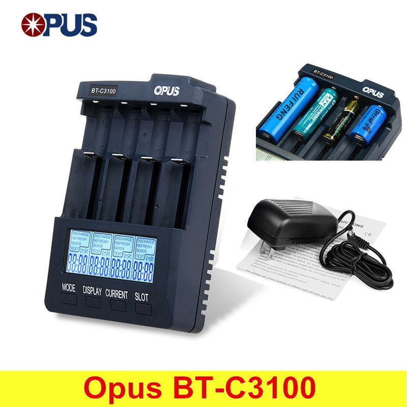 Opus BT-C3100 V2.2 Smart Digital Intelligent 4 LCD Slots Universal Battery Charger For Rechargeable Battery With EU/US Plug