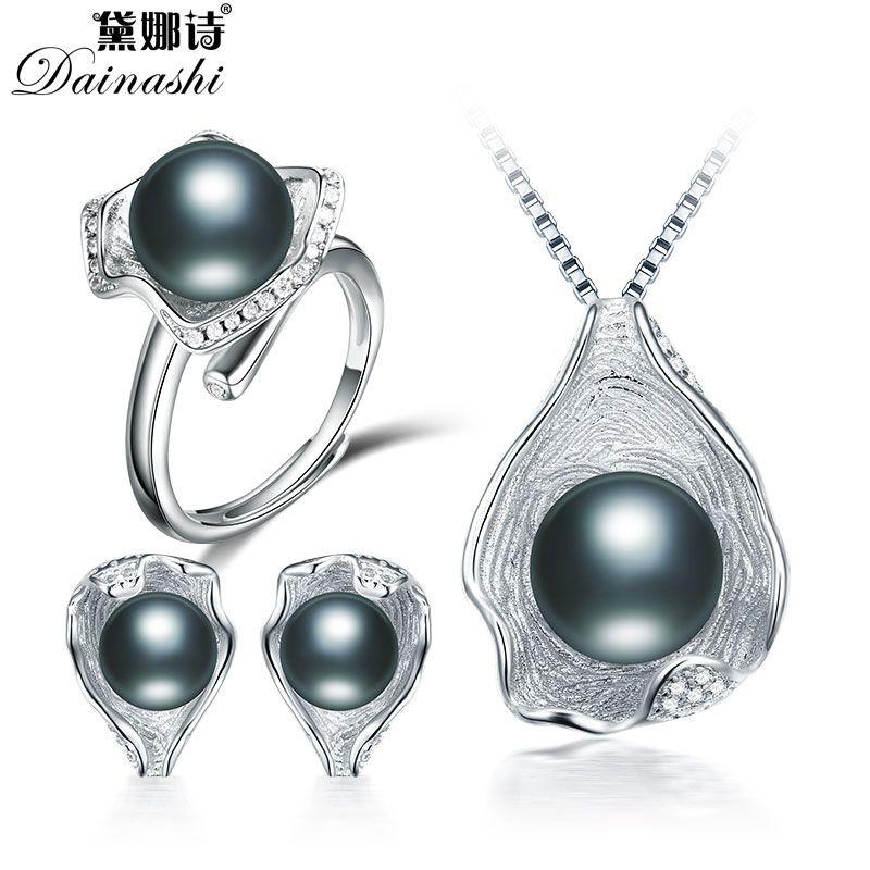 Heißer verkauf perle schmuck-set für frauen natürliche perle retro sets, 100% austern perlen set mädchen oder frauen hochzeit engagement geschenk