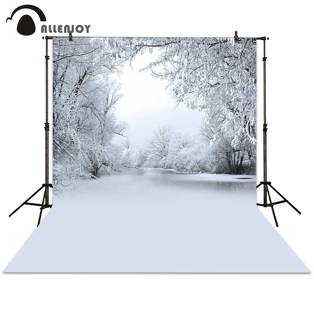 Allenjoy photographie toile de fond noël hiver lac blanc arbre neige fond gelé nouveau-né photocall photo studio