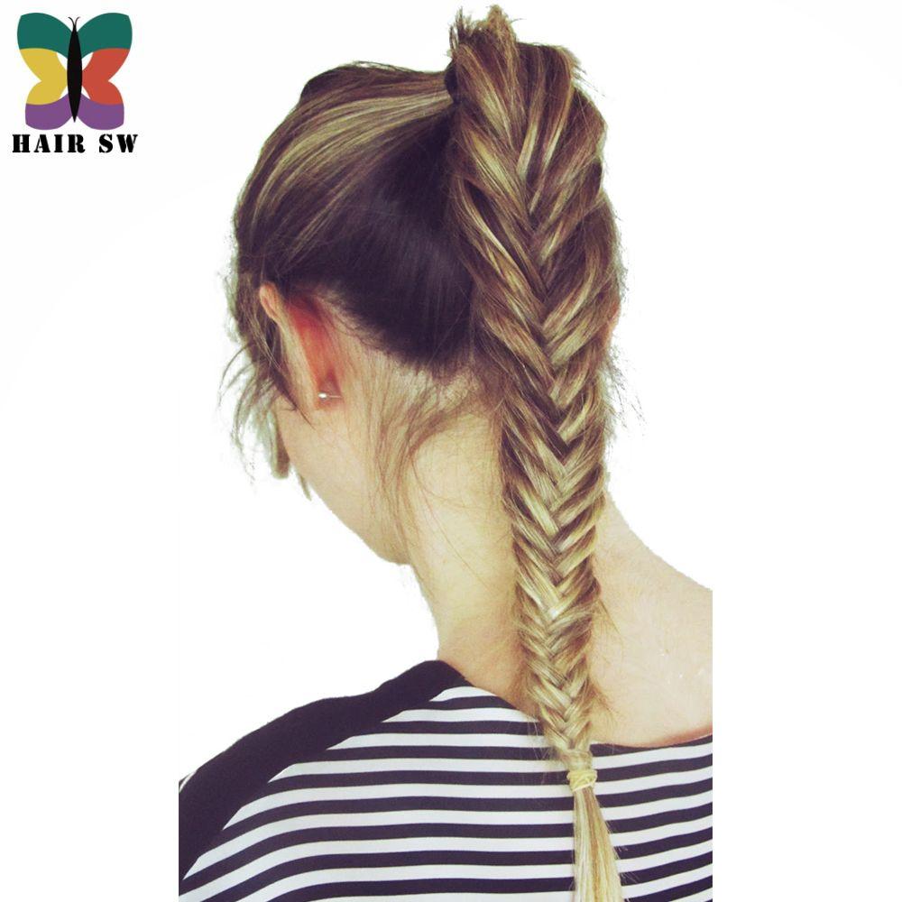 Волос SW длинные прямые рыбий хвост косы хвост клип в плетеные веревки Химическое наращивание волос Синтетические волосы для свадьбы или daliy...