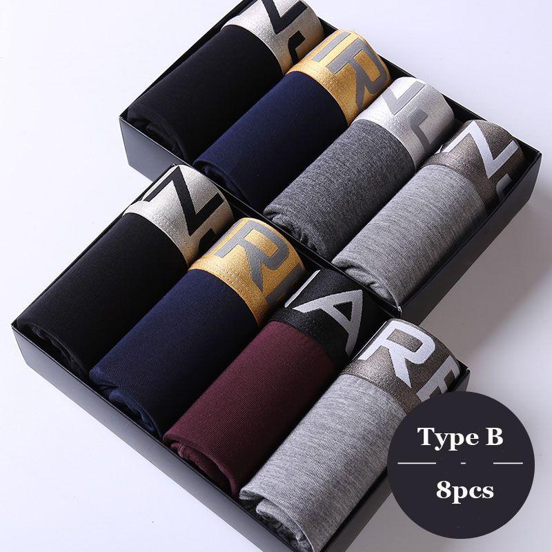 2017 Mens Underwear Boxers Shorts Sexy Large Size Soft Male Modal Panties Boxer U Convex Breathable Belt Cuecas L~6XL <font><b>8Pcs</b></font>/lot