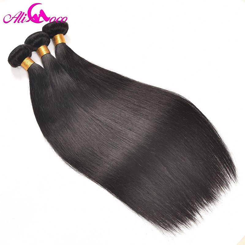 Ali Coco Brazilian Straight 1 Piece 100% Human Hair Weave Bundles 10-28 inch Natural Color Non Remy Hair Can Be Dyed
