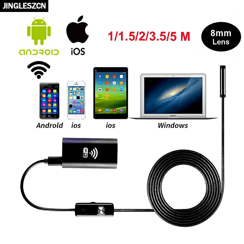 JINGLESZCN Wireless WiFi Endoscope USB Camera 8mm Dia 1m 2m 3.5m 5m 10m Inspection Cam Borescope Snake Camera for Android IOS PC