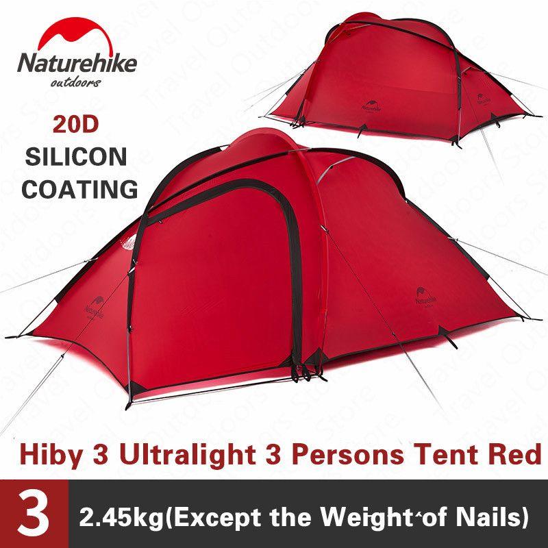 Naturehike Zelt Hiby Serie Camping Zelt 3-4 Personen Im Freien 20D Silikon Stoff Doppel schicht 4 Saison Ultraleicht Familie zelt