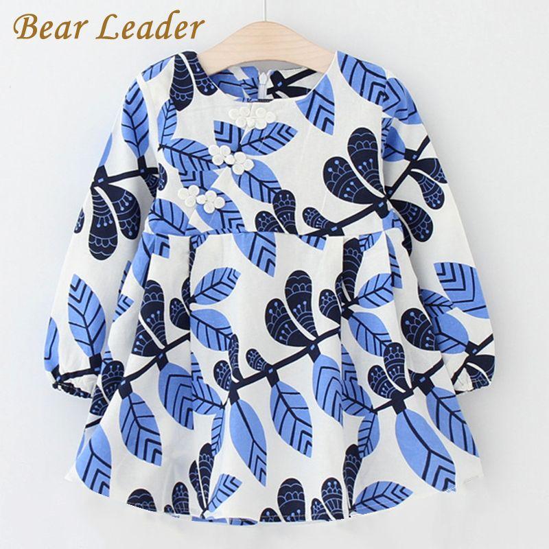 Bear Leader Girls Dress 2018 New Autumn Brand Baby Girls Long Sleeve Chinese Style Leaves Printing Kids Children Clothing Dress
