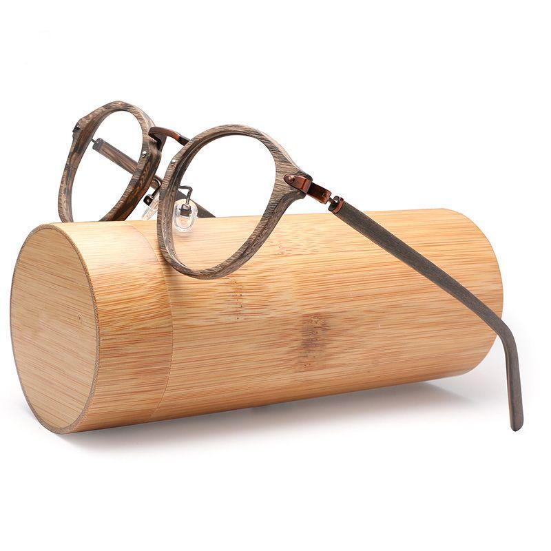 Acetate Prescription Eyeglasses Frames For Men and Women Wood Grain Optical Glasses Frame with Clear Lens with case BTBC06