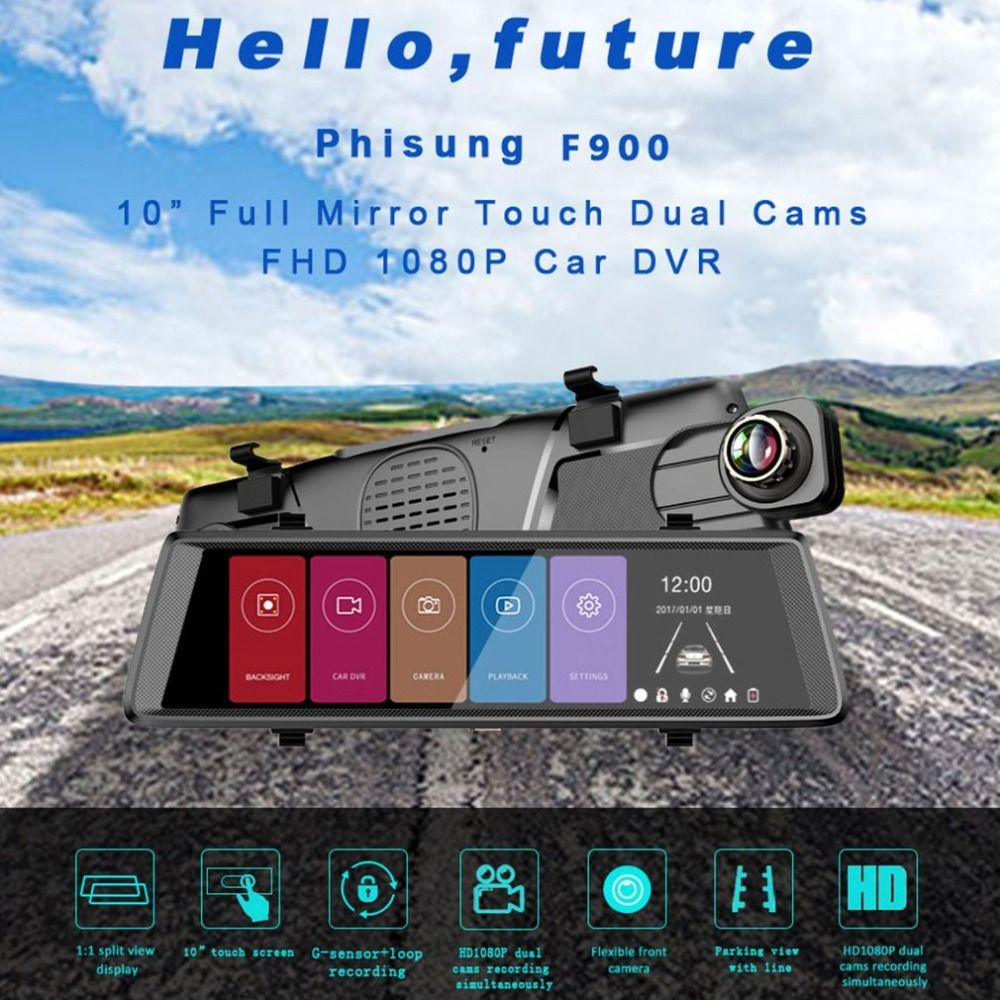 10 inch 1080P WiFi Car Camera DVR Video Dash Cam Recorder Monitor Night Vision 140 degrees APP for Android for iPhone