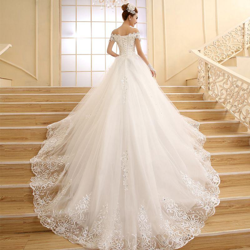 vestido de novia 2016 hot Bride Princess white/ivory Lace Embroidery Beading Luxury Long Royal Train Plus Size Wedding Dresses