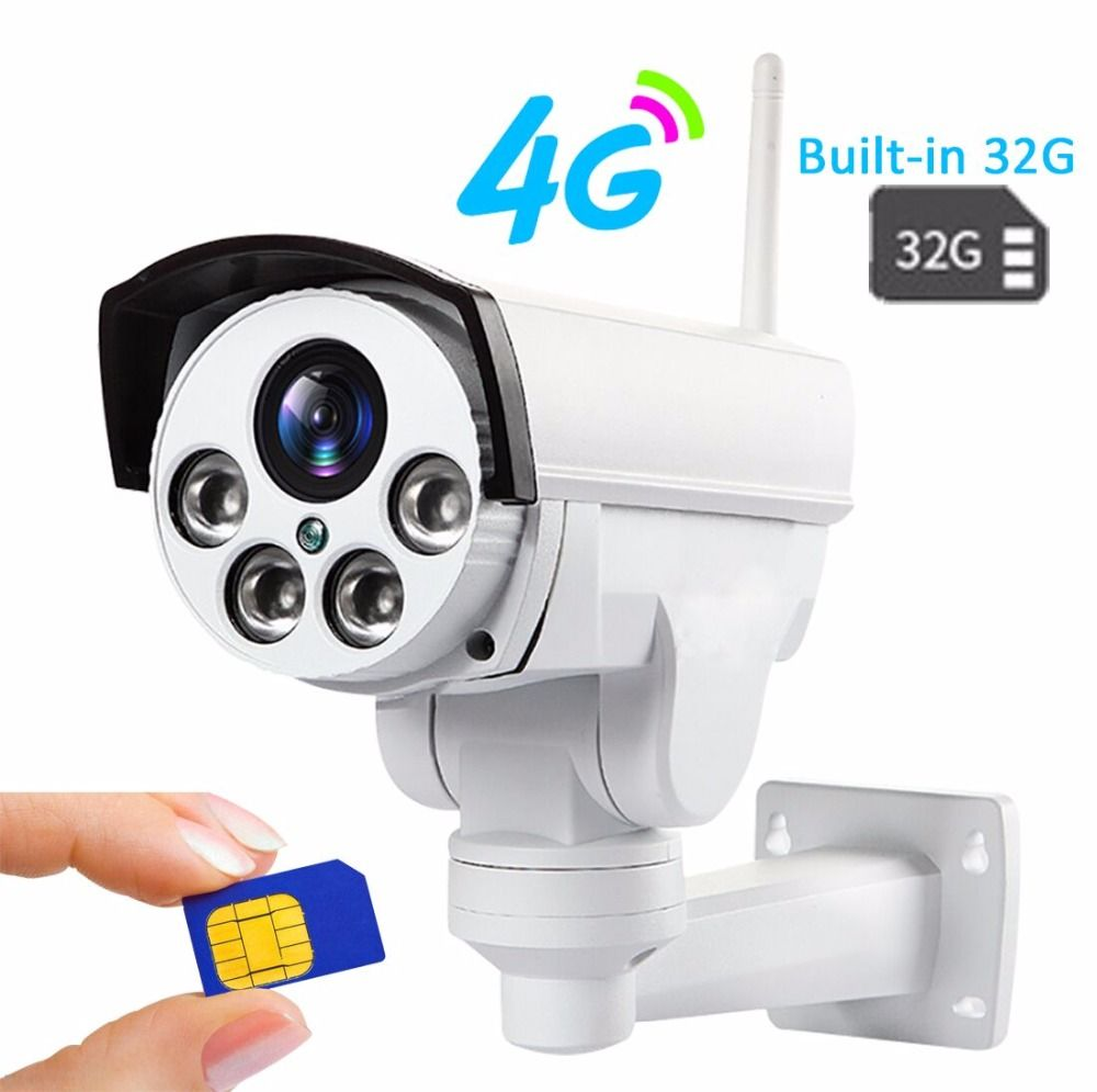 Built-in 32GB HD 960P 1080P 3g 4g Sim Card IP Camera Wifi Outdoor PTZ 5X Zoom Pan Tilt Bullet Camera Wireless Hotspot AP Motion