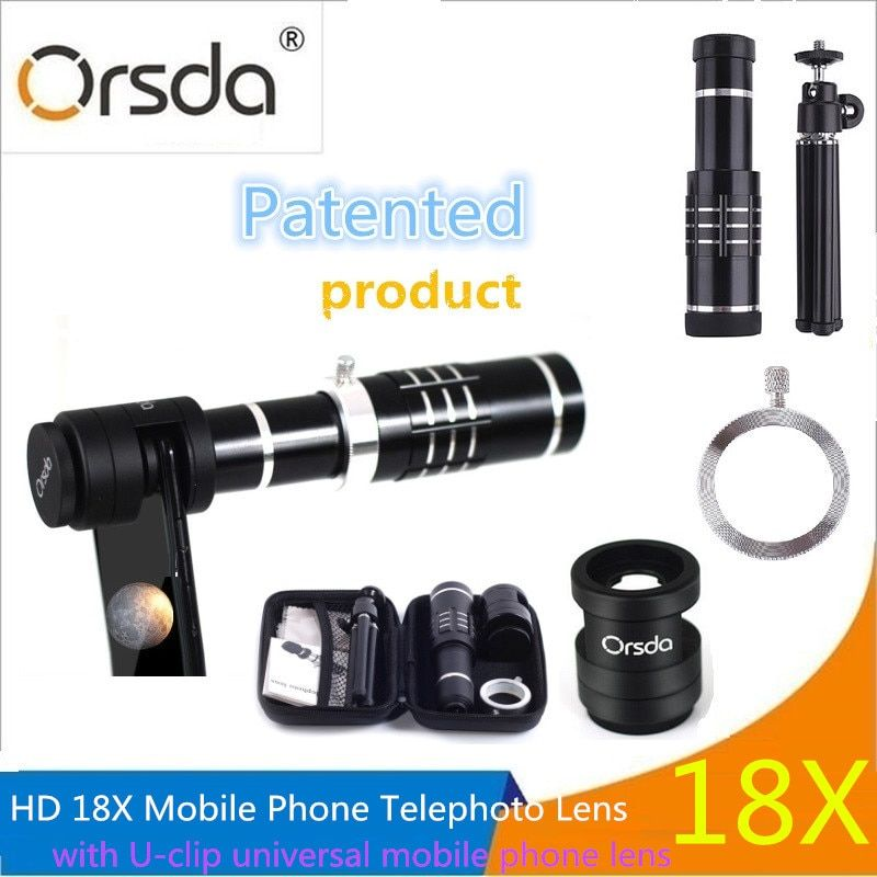 Orsda HD 18x Zoom Optical Telescope Telephoto Lens Kit Phone Camera Lenses With U-Type Patented Clip Tripod For iPhone 8 7 6 5S