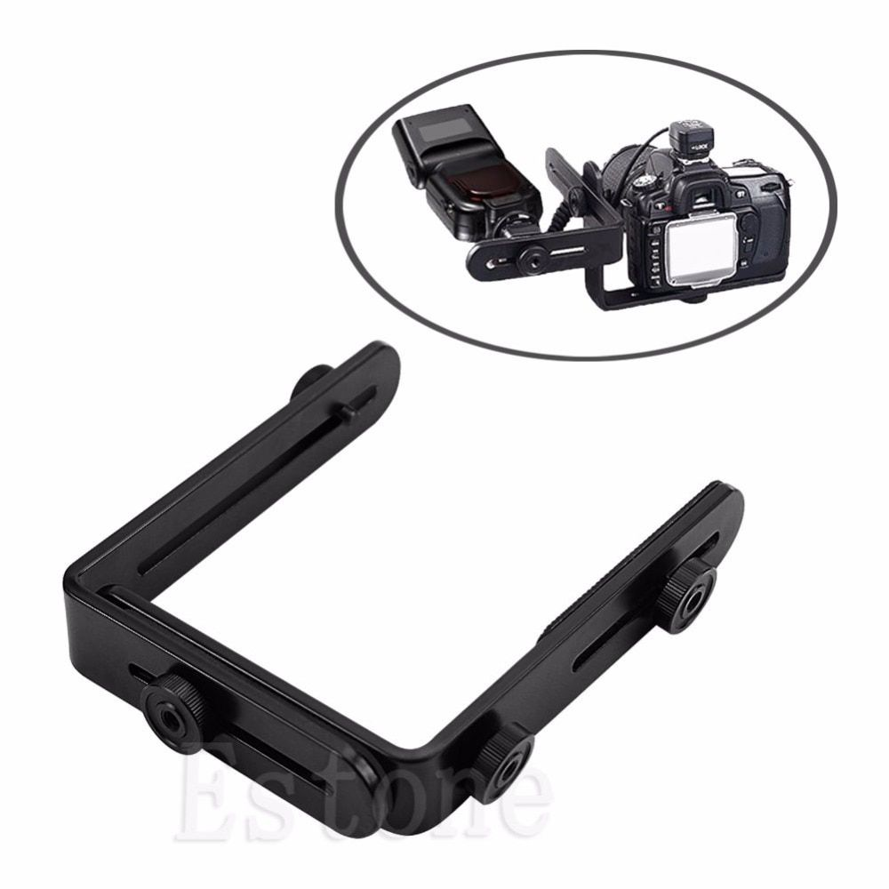 OOTDTY New Metal L-shaped Double Dual Bracket/Holder Mount for Canon Camera&Speedlite Flash