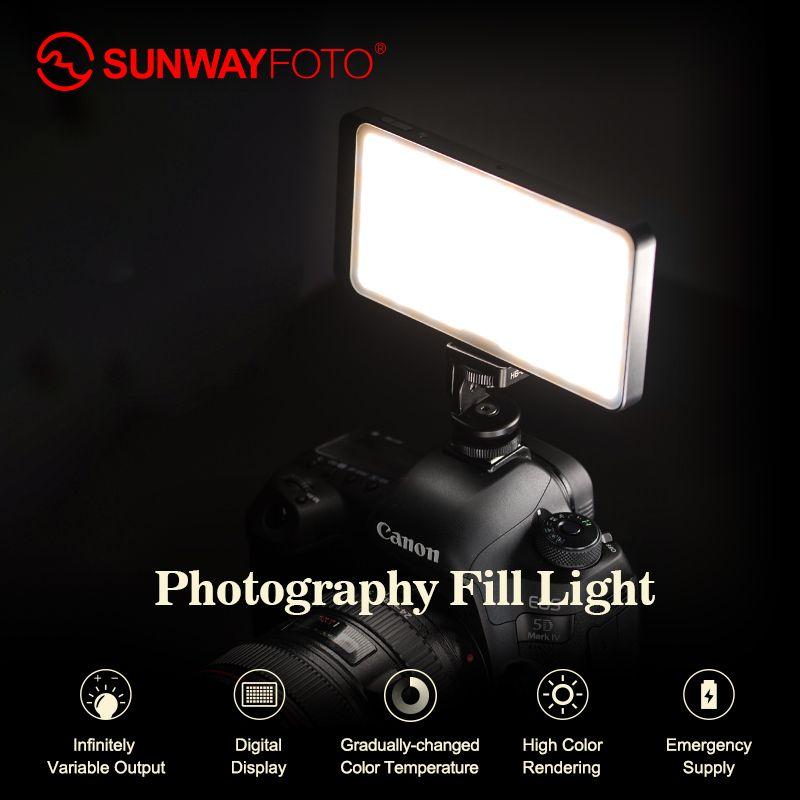 SUNWAYFOTO FL-120 LED Video licht Foto beleuchtung Auf Olympu Pentax DV kamera heißer schuh Dimmbare LED für DSLR YouTube foto studio