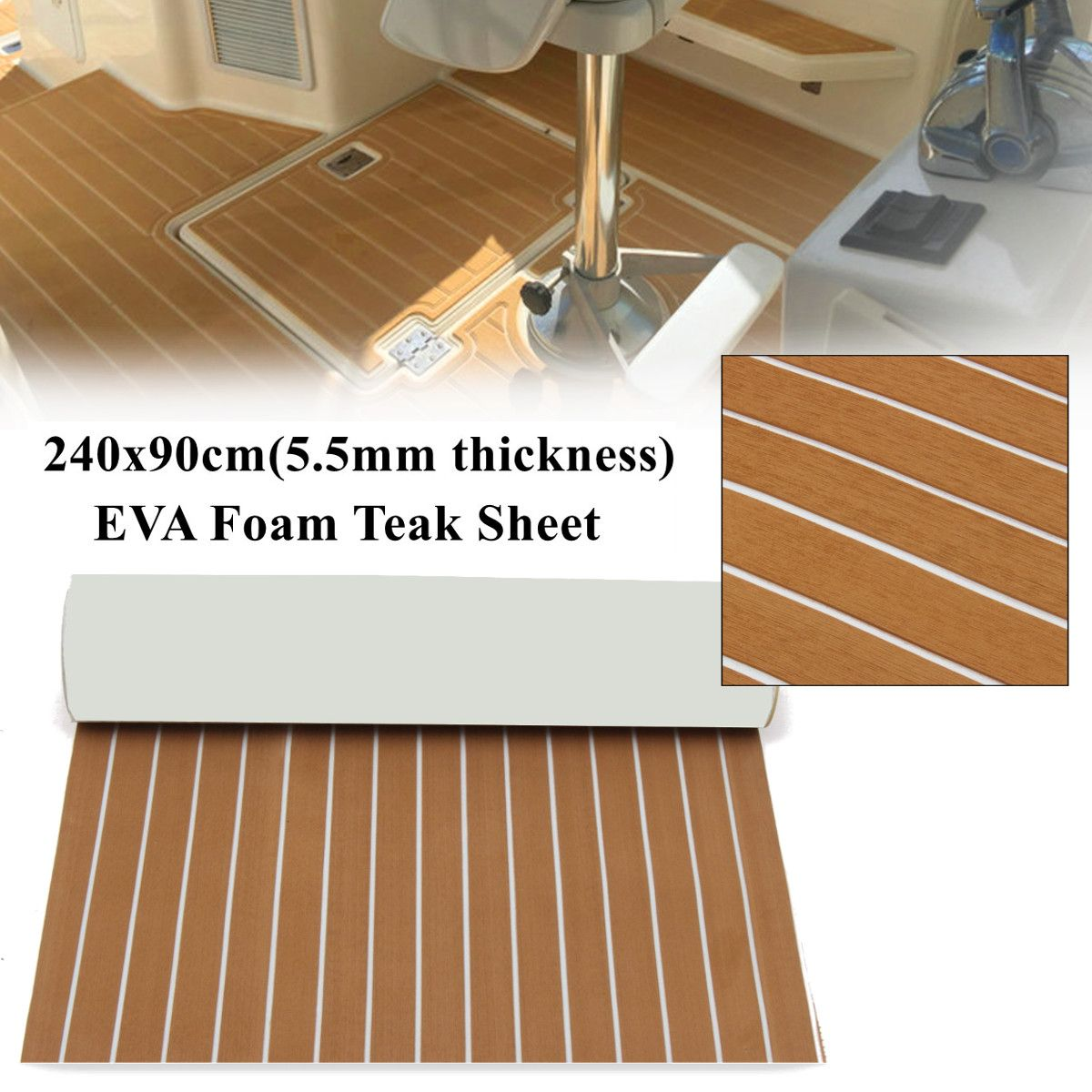 90x240cm Light Brown with White EVA Foam Teak Boat Flooring Sheet Yacht Synthetic Teak Decking Pad