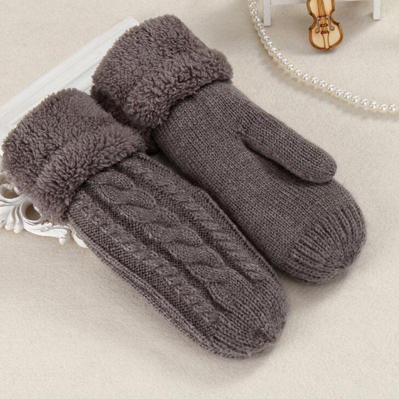 Women Fashion Knit Twist Flowers Mittens Winter Female Wool Plus Cashmere Velvet Thickening Warm Full Finger Gloves Guantes L46
