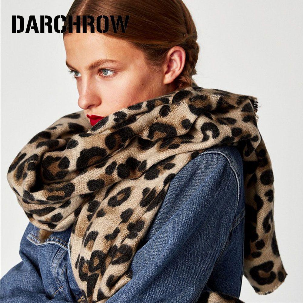 DARCHROW Leopard Printed Scarf Women Winter Blanket Scarf Warm Soft Cashmere Thicken Shawls Scarves for Women Lady