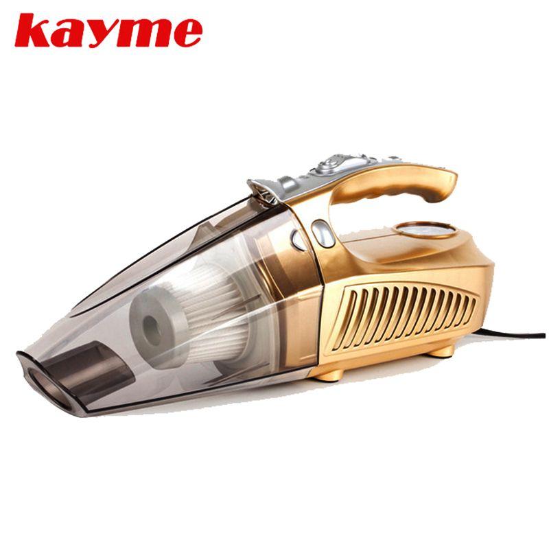Kayme 12v mini car air compressor tyre inflator infaltion pump 100W handheld car vacuum cleaner auto portable dust brush for car