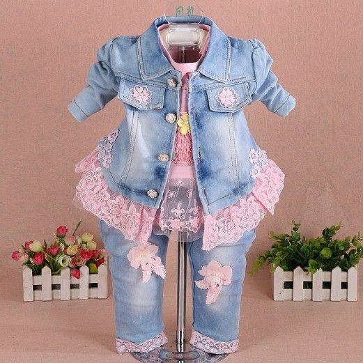 Nouveau 2017 filles vêtements ensemble 3 pièces enfants fille denim ensemble bébé fille vêtements ensembles pour anniversaire veste + t-shirt + jeans vêtements ensemble