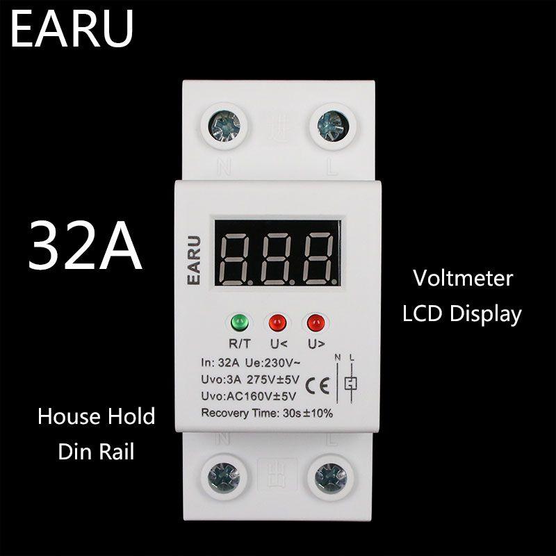 1 pc 32A 220 V auto-récupération automatique reconnexion et Protection contre la sous-tension relais de Protection de l'allègement LCD voltmètre moniteur