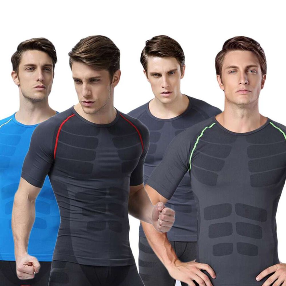 New Men Fitness Compression Short Sleeve O-Neck Tight T Shirts Fast Drying Base Layer Tops M-XL 2016 Hot Sale
