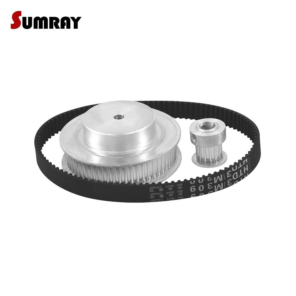 SUMRAY 3M Timing Pulley Belt Kit Reduction 1:4 3M 15T 60T Toothed Pulley Wheel HTD3M 318 Timing Belts For Transmission