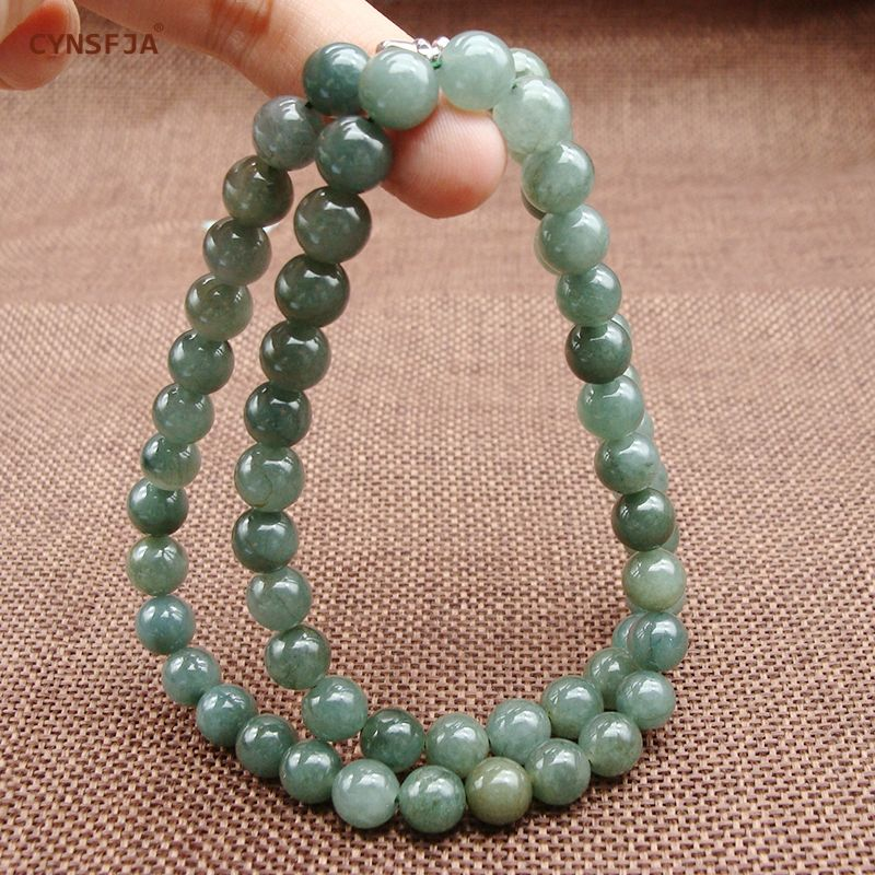 Myanmar Emerald Jade Necklace Beads Certified Natural A Grade Burmese Jadeite 7mm Ice Green High Quality Family Friends Gifts