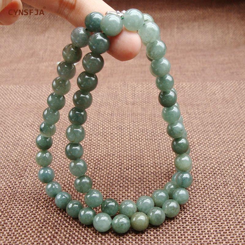 Myanmar Smaragd Jade Halskette Perlen Zertifiziert Natürliche A Grade Birmanischen Jadeit 7mm Eis Grün Hohe Qualität Familie Freunde Geschenke