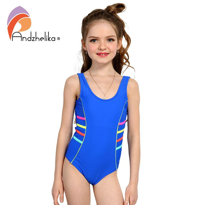 Andzhelika 2018 Girls Sports Swimsuit One-piece Swimwear Patchwork Solid multicolour Bodysuit Suit Girls Swimwear