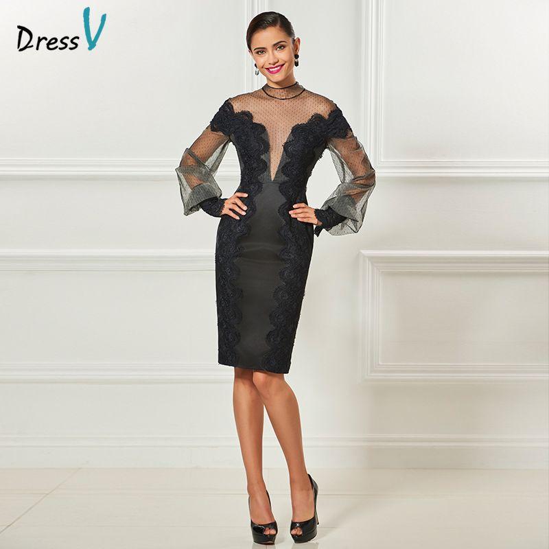 Dressv black long sleeves cocktail elegant appliques sheath knee length wedding party formal dress tulle cocktail dresses