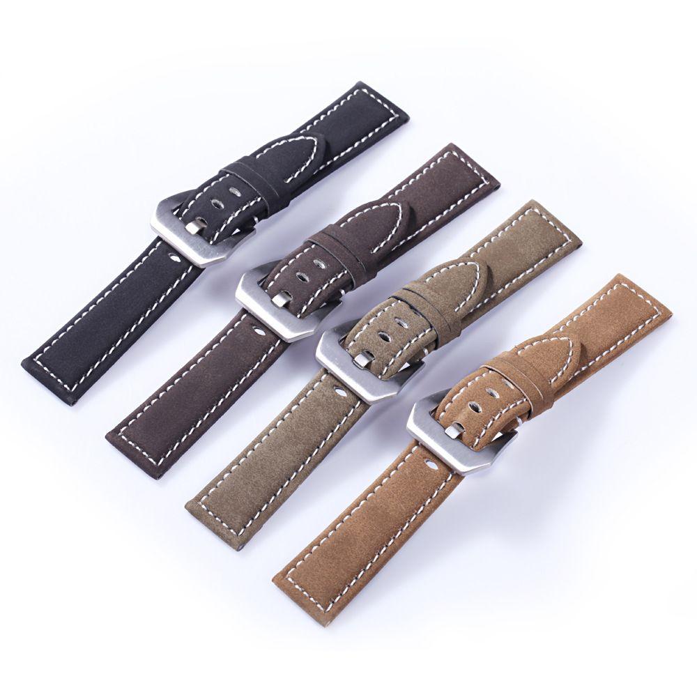 En gros 18mm 20mm 22mm 24mm Vintage Véritable Bracelet En Cuir Bracelet Rétro Montre Bande avec En Acier Inoxydable boucle de Femmes & Hommes