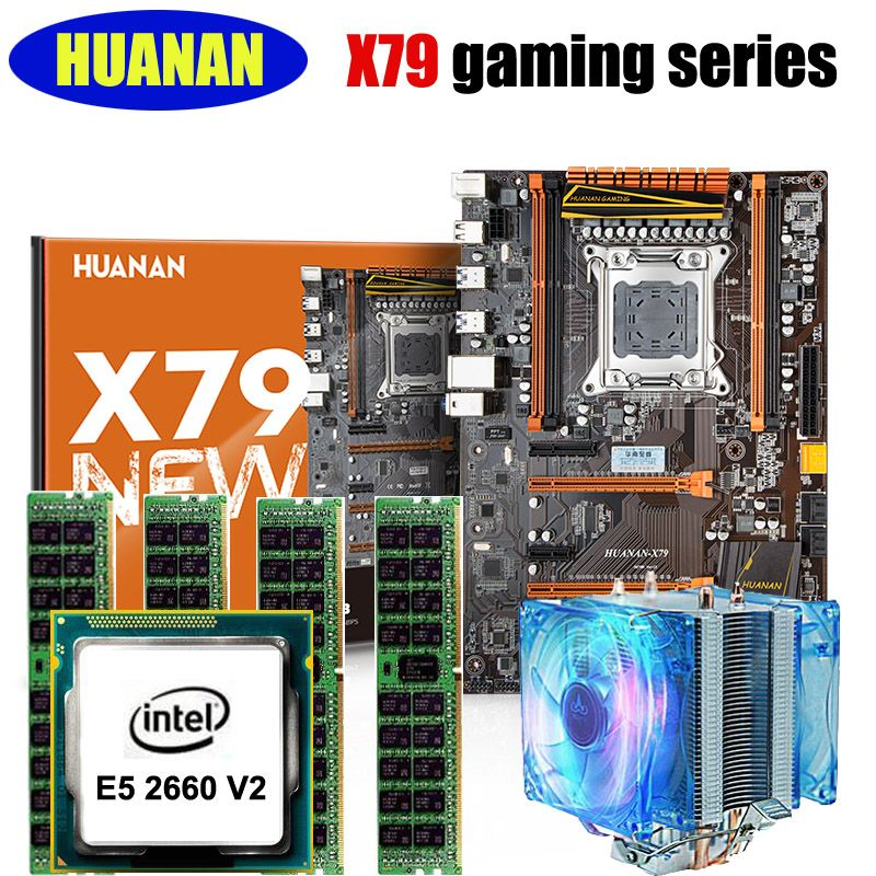 Motherboard+CPU+RAM+cooler set HUANAN X79 deluxe gaming motherboard Xeon E5 2660 V2 RAM 32G(4*8G) 2 heatpipes noise free cooler