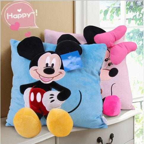 1pcs 35cm 3D Mickey Mouse and Minnie Mouse Plush Pillow Kawaii Mickey and Minnie Soft Cusion Gifts for Children