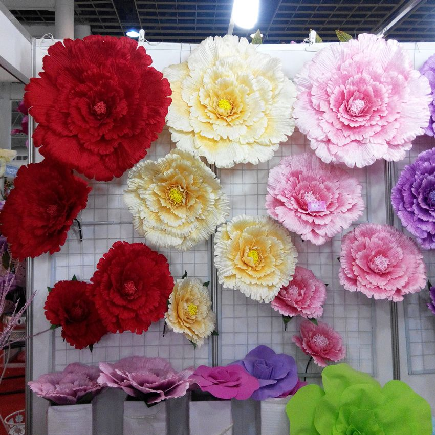 50/60/70/80cm Large <font><b>artificial</b></font> flowers Peony Wedding background Decorative flower branches silk flowers wall for home decoration