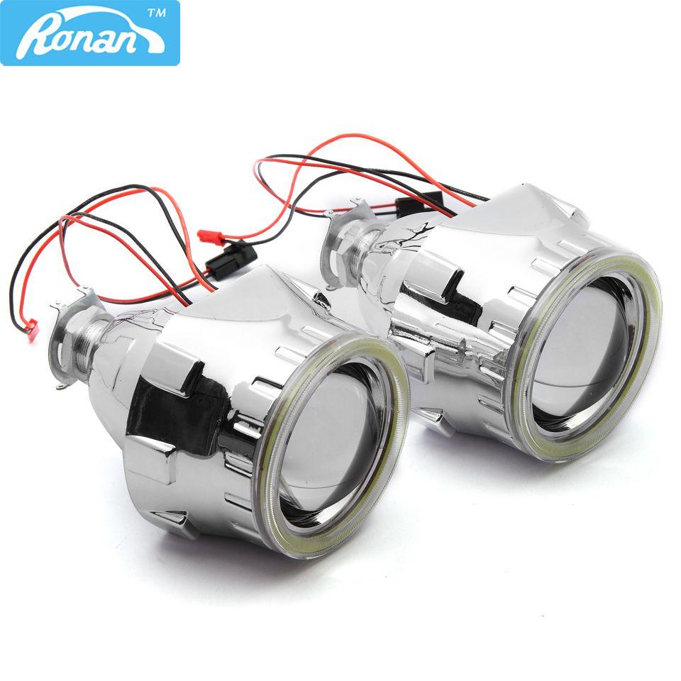 RONAN 2.5''Mini HID Bi-xenon Projector Lens LHD/RHD Car/Motorcycle headlight with COB LED Angel eyes  styling  Refit car styling