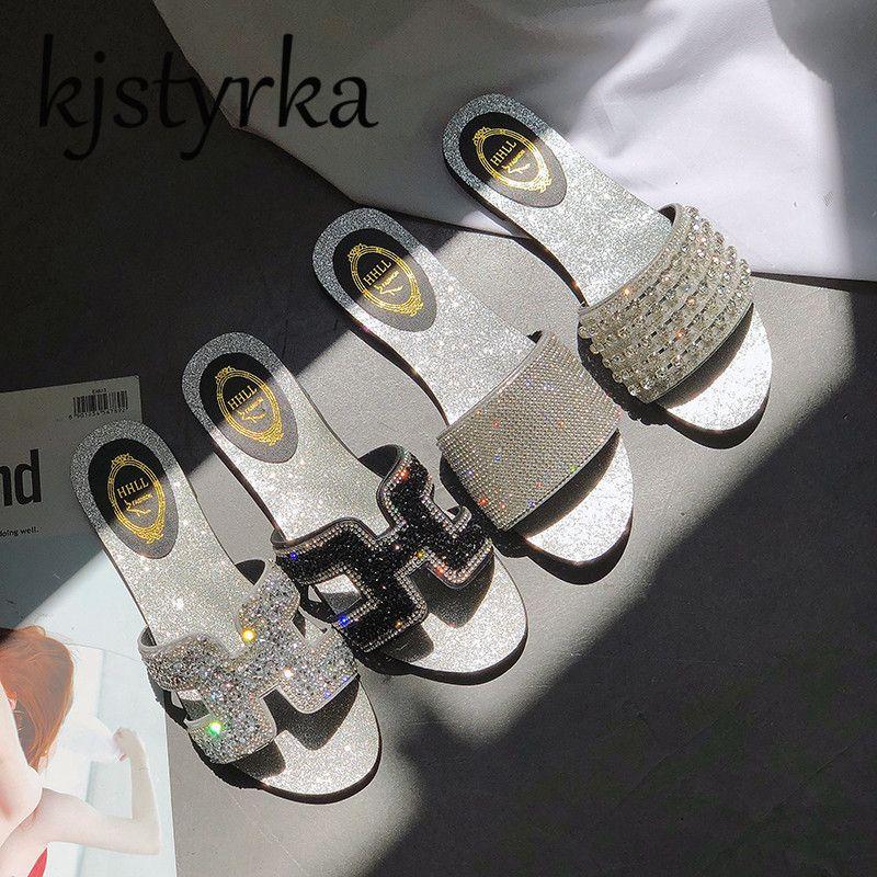 Kjstyrka Fashion Women Crystal H Slippers Flat Heel Mules <font><b>Bling</b></font> Diamond Ladies Slides Flip Flops Sandals 2018 Summer New Desgin