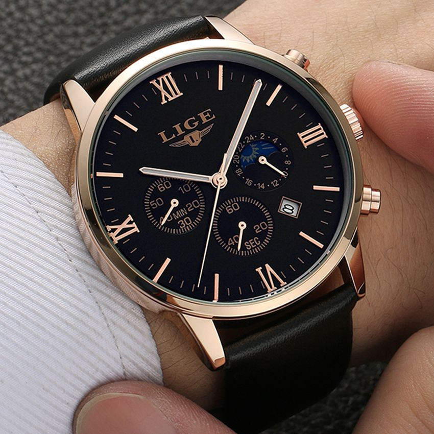 2017 LIGE Mens Watches Fashion Casual <font><b>Sport</b></font> Quartz Watch Men Chronograp Clock Man Leather Business Wrist watch Relogio Masculino