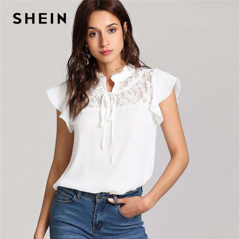 SHEIN White Knot Floral Lace Yoke Top Women <font><b>Stand</b></font> Collar Ruffle Butterfly Sleeve Plain Blouse 2018 Summer Elegant Blouse